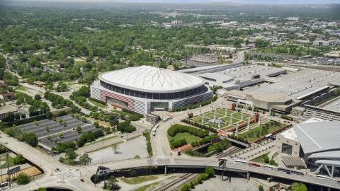 AX36_103.0000051F - Aerial stock photo of Georgia Dome, Downtown Atlanta, Georgia
