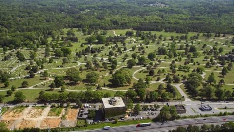 AX37_005.0000057F - Aerial stock photo of Westview cemetery, West Atlanta, Georgia