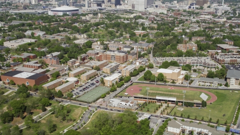 AX37_008.0000307F - Aerial stock photo of BT Harvey Stadium and Morehouse College, Atlanta, Georgia