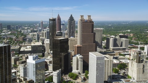 AX37_013.0000293F - Aerial stock photo of Downtown skyscrapers and office buildings, Atlanta, Georgia