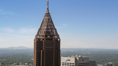 AX37_016.0000240F - Aerial stock photo of Top of the Bank of America Plaza, Midtown Atlanta
