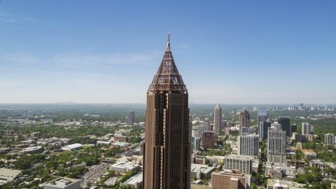 AX37_017.0000000F - Aerial stock photo of Top half of Bank of America Plaza, Midtown Atlanta, Georgia