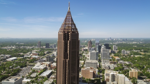 AX37_017.0000041F - Aerial stock photo of Medium shot of Bank of America Plaza, Midtown Atlanta