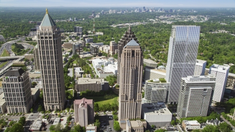AX37_020.0000262F - Aerial stock photo of Midtown Atlanta skyscrapers, Georgia