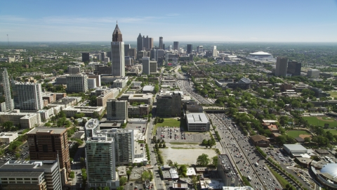 AX37_036.0000012F - Aerial stock photo of Bank of America Plaza and skyscrapers, Downtown and Midtown Atlanta, Georgia