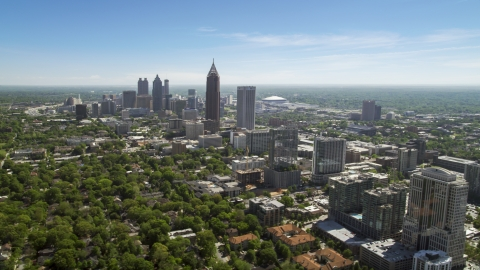AX37_037.0000236F - Aerial stock photo of Midtown Atlanta skyscrapers near Downtown, Georgia