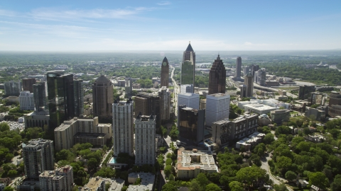 AX37_038.0000027F - Aerial stock photo of Midtown Atlanta skyscrapers, Georgia