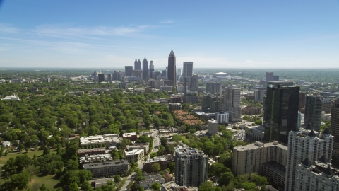 AX37_039.0000004F - Aerial stock photo of Downtown and Midtown Atlanta skyscrapers, Georgia