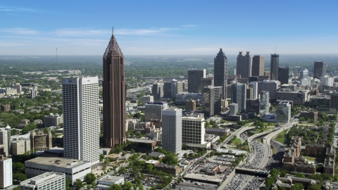 AX37_042.0000265F - Aerial stock photo of Midtown Atlanta skyscrapers near Downtown skyscrapers, Georgia