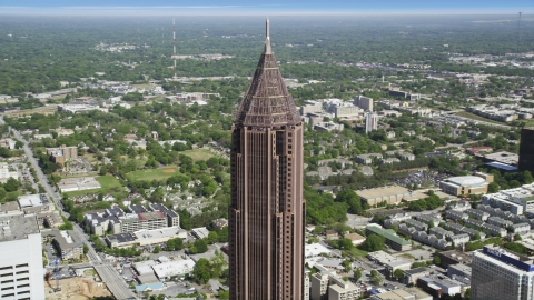 AX37_043.0000210F - Aerial stock photo of Top of the Bank of America Plaza, Midtown Atlanta, Georgia