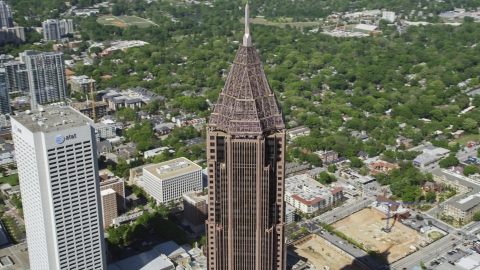 AX37_044.0000217F - Aerial stock photo of Top of Bank of America Plaza and AT&T Midtown Center, Atlanta, Georgia