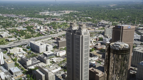 AX37_053.0000043F - Aerial stock photo of 191 Peachtree Tower, Downtown Atlanta, Georgia