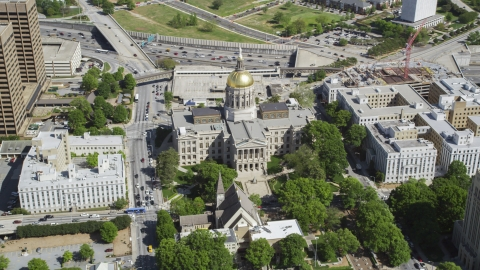 AX37_060.0000287F - Aerial stock photo of Georgia State Capitol, Downtown Atlanta, Georgia