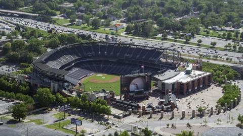 AX37_061.0000308F - Aerial stock photo of Empty Turner Field, Atlanta, Georgia