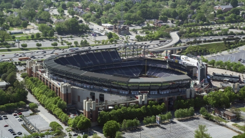 AX37_062.0000061F - Aerial stock photo of Turner Field, Atlanta, Georgia