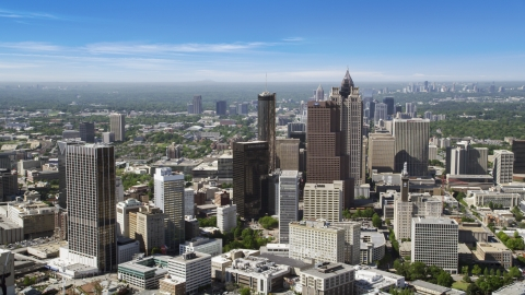 AX37_064.0000212F - Aerial stock photo of Downtown skyscrapers and office buildings, Atlanta, Georgia