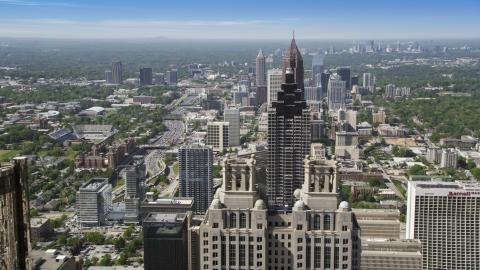 AX37_066.0000243F - Aerial stock photo of Skyscrapers near SunTrust Plaza, Downtown Atlanta, Georgia