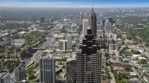 AX37_067.0000086F - Aerial stock photo of Sun Trust Plaza, Bank of America Plaza, Atlanta, Georgia