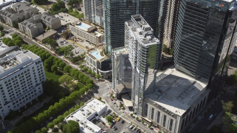 AX37_070.0000000F - Aerial stock photo of Loews Atlanta Hotel, 1010 Midtown, Midtown Atlanta, Georgia