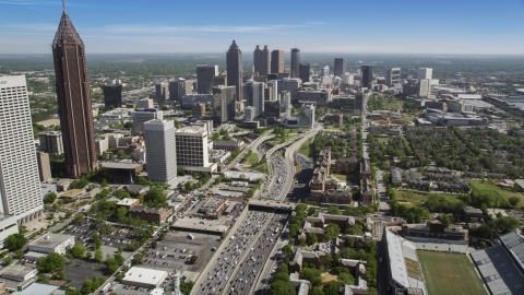 AX37_074.0000011F - Aerial stock photo of Heavy traffic on Downtown Connector, Midtown Atlanta, Georgia