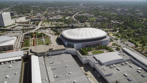 AX37_076.0000325F - Aerial stock photo of The Georgia Dome, Atlanta, Georgia