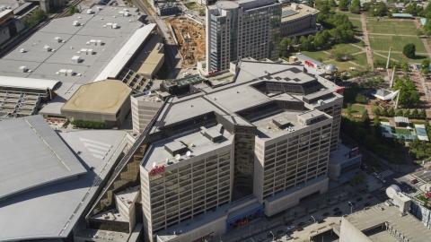 AX37_077.0000409F - Aerial stock photo of The CNN Center, Downtown Atlanta, Georgia