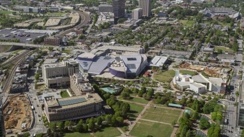 AX37_078.0000000F - Aerial stock photo of Georgia Aquarium, Atlanta, Georgia