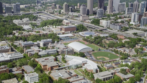 AX37_080.0000037F - Aerial stock photo of Georgia Institute of Technology buildings, Atlanta, Georgia