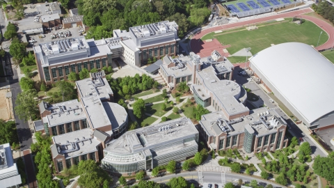 AX37_080.0000388F - Aerial stock photo of Georgia Institute of Technology buildings, Atlanta, Georgia