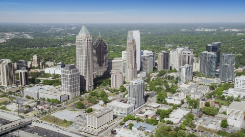 AX37_081.0000000F - Aerial stock photo of Midtown Atlanta skyscrapers and buildings, Georgia