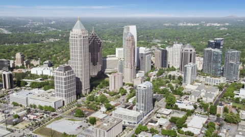 AX37_081.0000077F - Aerial stock photo of Midtown Atlanta skyscrapers, Georgia