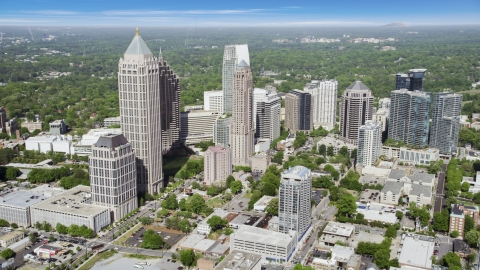 AX37_081.0000150F - Aerial stock photo of Midtown skyscrapers, Atlanta, Georgia