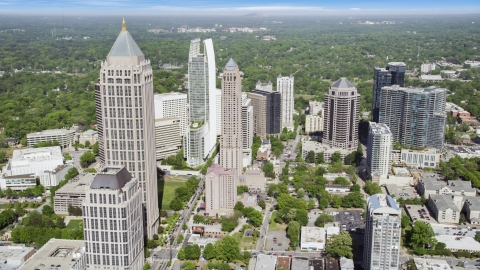 AX37_082.0000015F - Aerial stock photo of Midtown Atlanta skyscrapers, Georgia