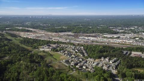 AX38_004.0000246F - Aerial stock photo of Train yard, Atlanta, Georgia