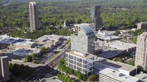 AX38_016.0000072F - Aerial stock photo of The Pinnacle skyscraper, Buckhead, Georgia