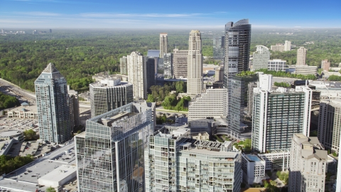 AX38_021.0000090F - Aerial stock photo of Skyscrapers and office buildings, Buckhead, Georgia