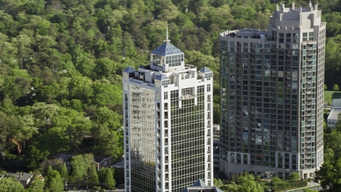 AX38_029.0000130F - Aerial stock photo of 2828 Peachtree skyscraper, Buckhead, Georgia