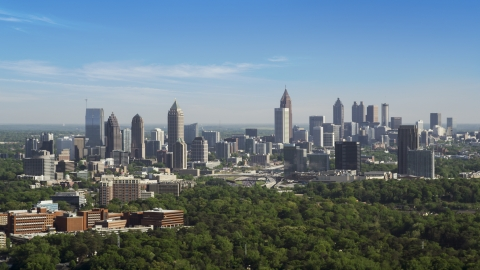 AX38_031.0000094F - Aerial stock photo of Midtown Atlanta skyline, Buckhead, Georgia