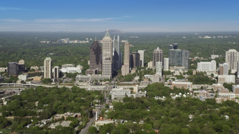 AX38_060.0000098F - Aerial stock photo of Wide view of Midtown Atlanta skyscrapers from West Atlanta, Georgia