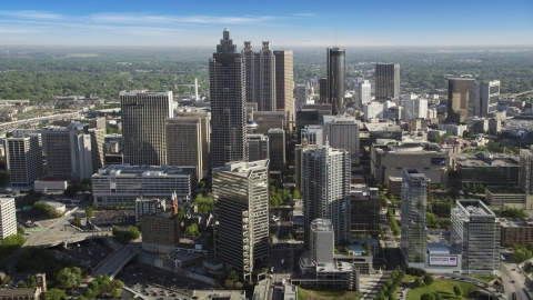 AX38_071.0000053F - Aerial stock photo of Skyscrapers and office buildings, Downtown Atlanta, Georgia