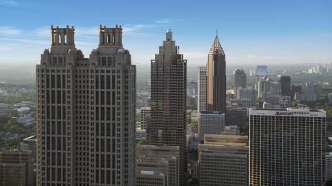 AX39_018.0000047F - Aerial stock photo of Downtown skyscrapers, hazy, Atlanta, Georgia