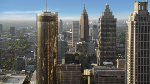 AX39_018.0000256F - Aerial stock photo of Downtown Skyscrapers, Atlanta, Georgia