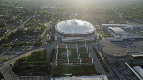 AX39_019.0000049F - Aerial stock photo of Georgia Dome, Atlanta, Georgia