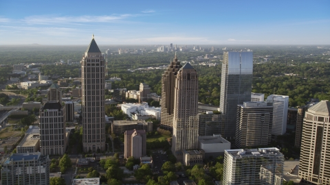 AX39_023.0000008F - Aerial stock photo of Midtown Atlanta skyscrapers near Promenade II, Georgia