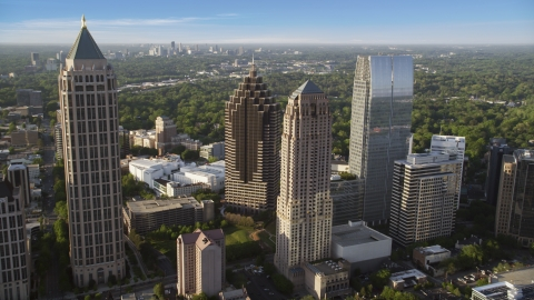 AX39_023.0000132F - Aerial stock photo of Midtown skyscrapers near Promenade II, Atlanta, Georgia
