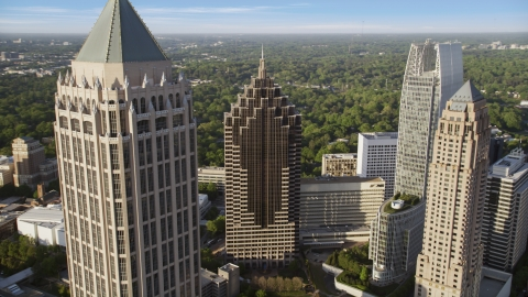 AX39_023.0000337F - Aerial stock photo of Midtown Atlanta skyscrapers, close-up, Georgia