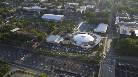 AX39_027.0000045F - Aerial stock photo of McCamish Pavilion in Atlanta, Georgia