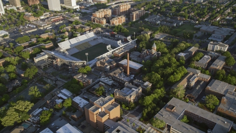 AX39_029.0000300F - Aerial stock photo of Bobby Dodd Stadium at the Georgia Institute of Technology, Atlanta