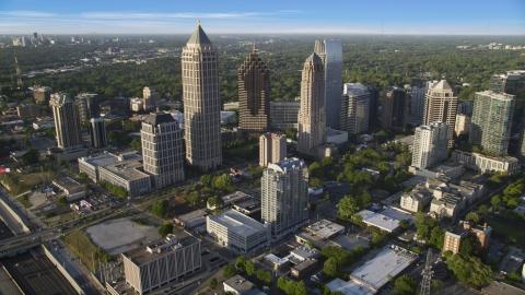 AX39_031.0000054F - Aerial stock photo of Skyscrapers in Midtown Atlanta, Georgia