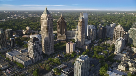 AX39_031.0000160F - Aerial stock photo of Midtown Atlanta's tall high-rise buildings, Georgia